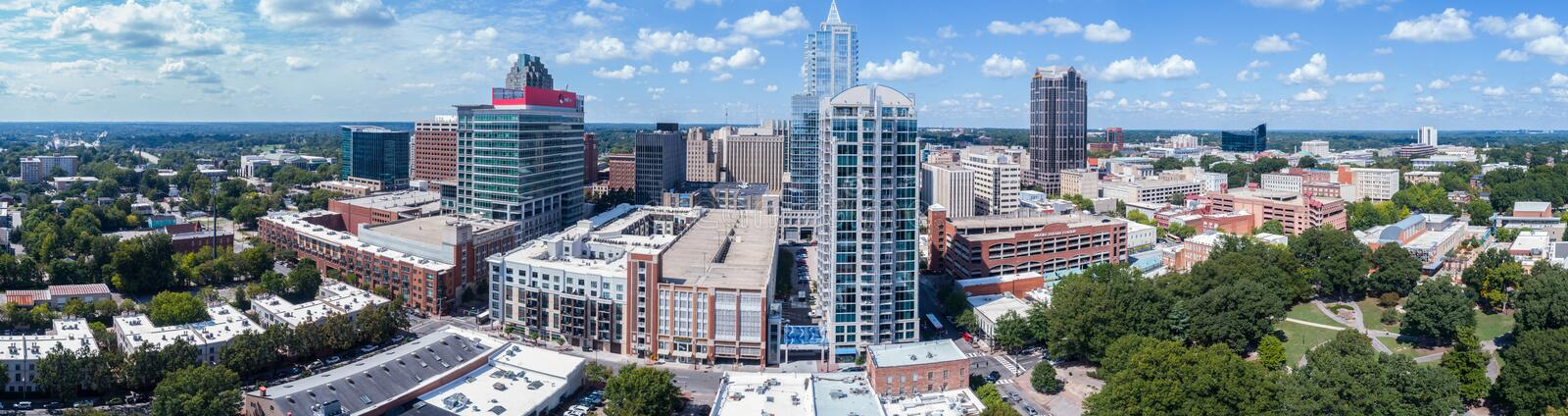 Drone Aerial Panorama Skyline of the City of Raleigh, NC stock image