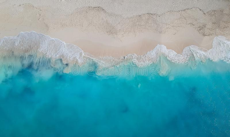 Drone panorama Grace Bay, Providenciales, Turks and Caicos royalty free stock photo