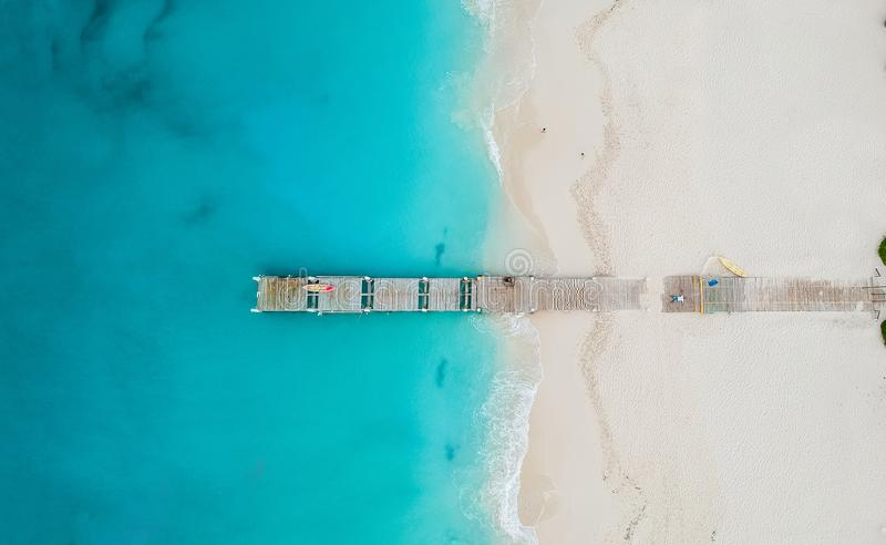 Drone panorama of pier in beach in Grace Bay, Providenciales, Tu royalty free stock photos