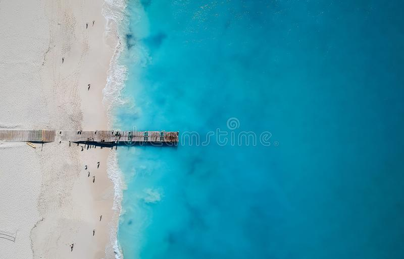 Drone panorama of pier in Grace Bay, Providenciales, Turks and Caicos royalty free stock image