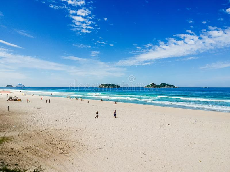 Drone photo of Barra da Tijuca beach, Tijucas Island in the back, Rio de Janeiro stock photography