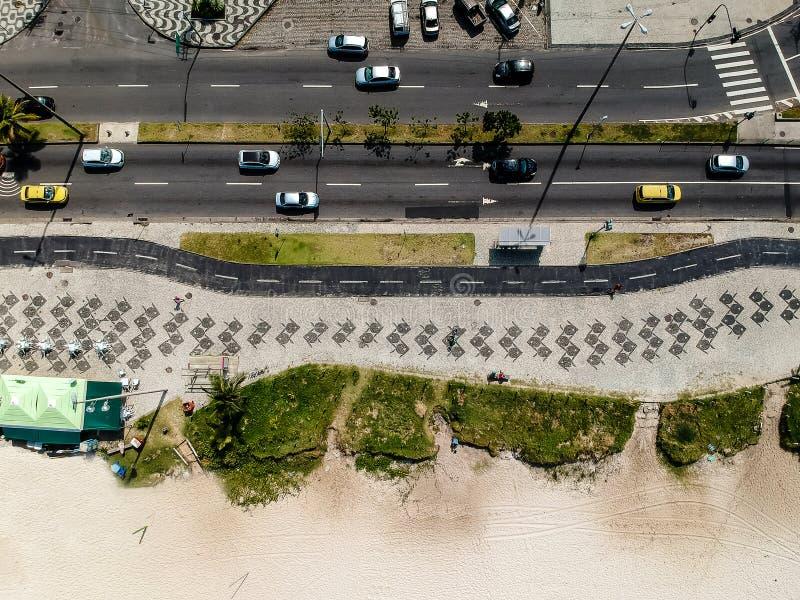 Drone photo of Pepe beach boardwalk and Lucio Costa street, Rio de Janeiro. Drone photo of Barra da Tijuca boardwalk and Lucio Costa street, Rio de Janeiro royalty free stock photo