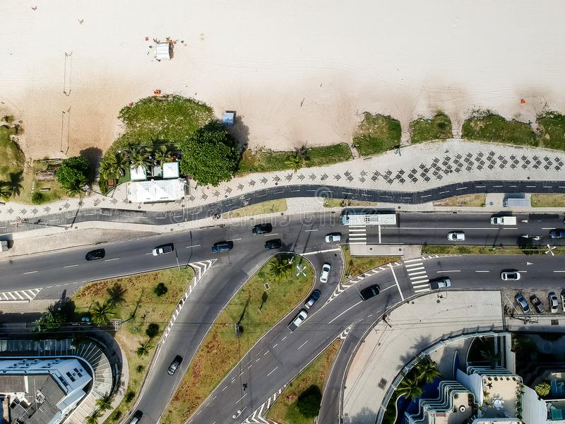 Drone photo of Pepe beach boardwalk and Lucio Costa street, Rio de Janeiro royalty free stock photo