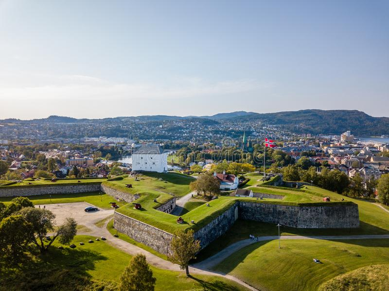 Drone Photo of the City Trondheim in Norway on Sunny Summer Day with Mountains in the Background and the Look on Old Castle royalty free stock photos