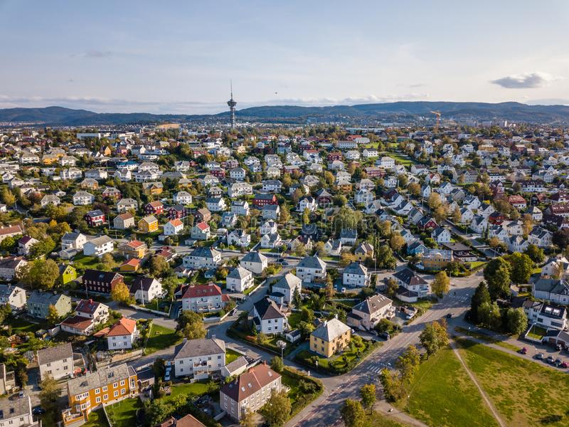 Drone Photo of the City Trondheim in Norway on Sunny Summer Day with Mountains, Fjord and Port in the Background. Concept of Travel and Harmony stock images