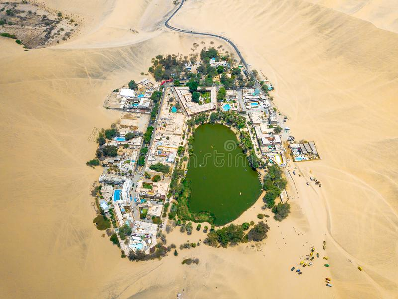 Drone photo of an Huacachina oasis in Peru royalty free stock photography