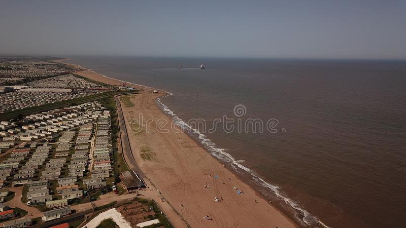 Drone photo ingoldmells beach holiday resort English coast line summer stock image