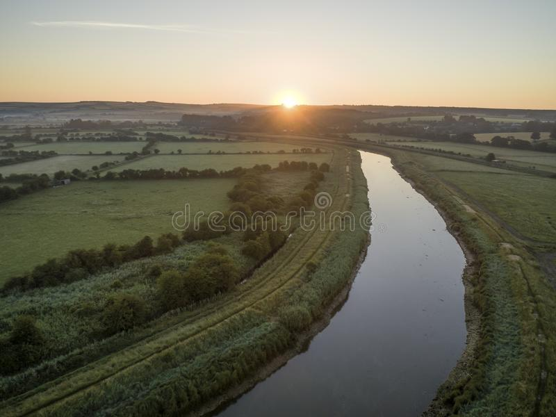 Drone photo over the River Arun in West Sussex royalty free stock image