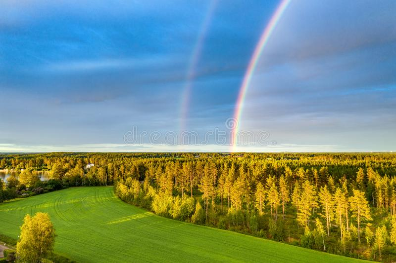 Drone photo, rainbow over summer pine tree forest,green wheat field, very clear skies and clean rainbow colors. Scandinavian. Nature are illuminated by evening stock photo