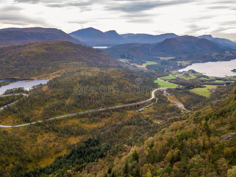 Drone Photo of the Road Leading to Fjord in Gammellåven with a Dramatic Sky in Background royalty free stock image