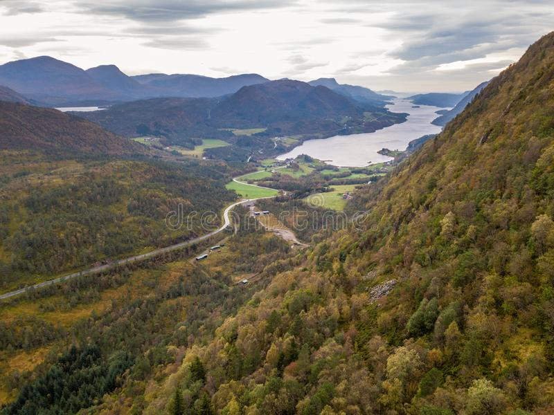 Drone Photo of the Road Leading to Fjord in Gammellåven with a Dramatic Sky in Background royalty free stock photos