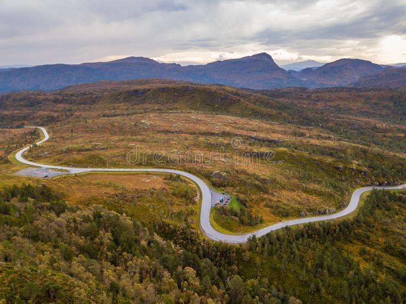 Drone Photo of the Road Leading to Fjord in Gammellaven with a Dramatic Sky in Background stock photos