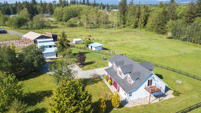 Drone view of single family house stock image