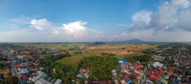 Drone photography aerial panorama view of permatang pauh pulau pinang stock images