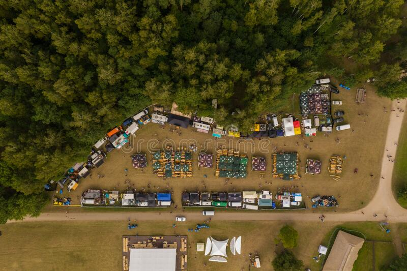 Drone photography of food stalls during music festival.  stock photos