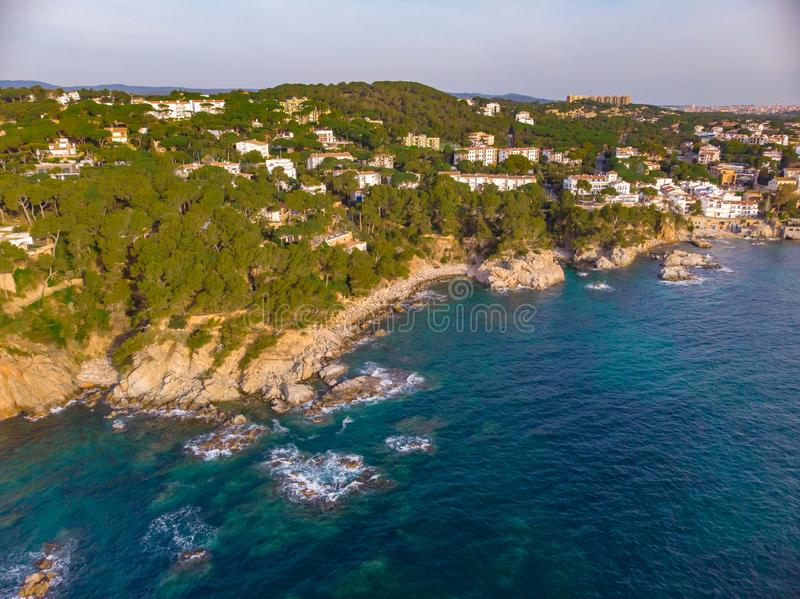 Drone picture over the Costa Brava coastal, near small village Calella de Palafrugell of Spain.  royalty free stock image