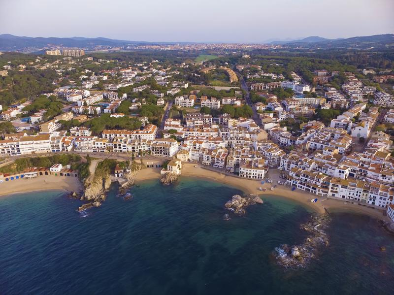 Drone picture over the Costa Brava coastal, small village Calella de Palafrugell of Spain.  stock photo
