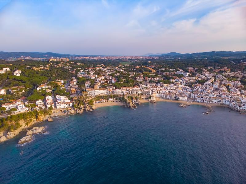 Drone picture over the Costa Brava coastal, small village Calella de Palafrugell of Spain.  stock photos