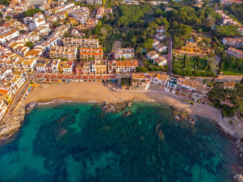 Drone picture over the Costa Brava coastal, small village Calella de Palafrugell of Spain.  royalty free stock image