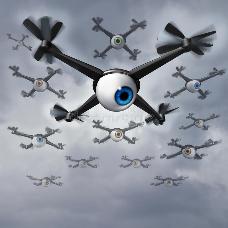 Drone Privacy Issues. Drone privacy concerns social issues concept as a group of spy drones with human eye balls collecting private information in a