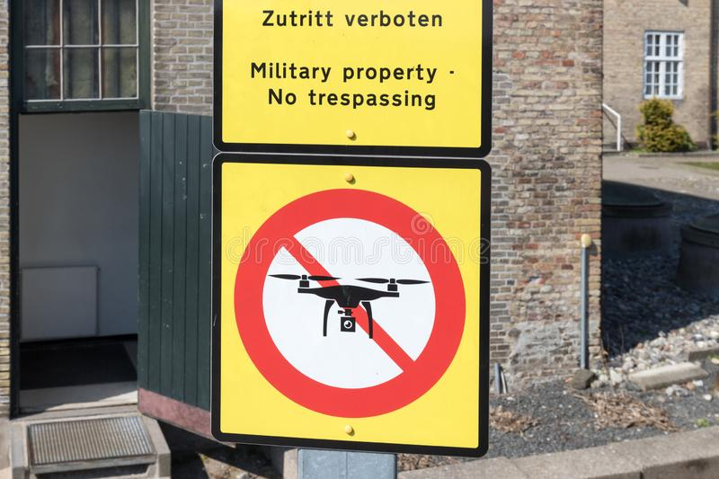 Drone prohibition sign royalty free stock photo