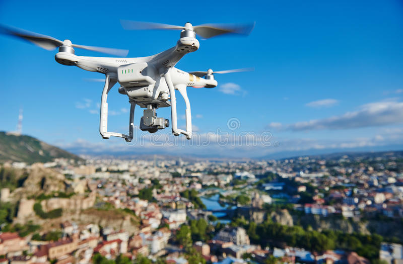 Drone quadcopter with digital camera stock photography