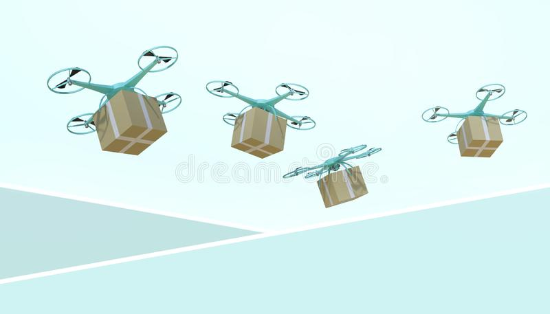 Drone quadcopter Packages and transported in high-tech logistics online shopping on pastel Green background stock illustration