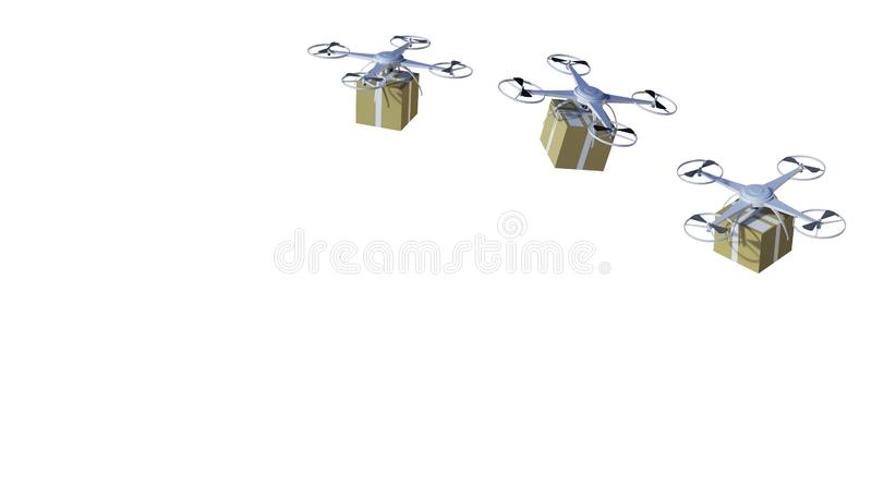 Drone quadcopter Packages and transported in high-tech ,online shopping logistics on isolated on a white background royalty free illustration