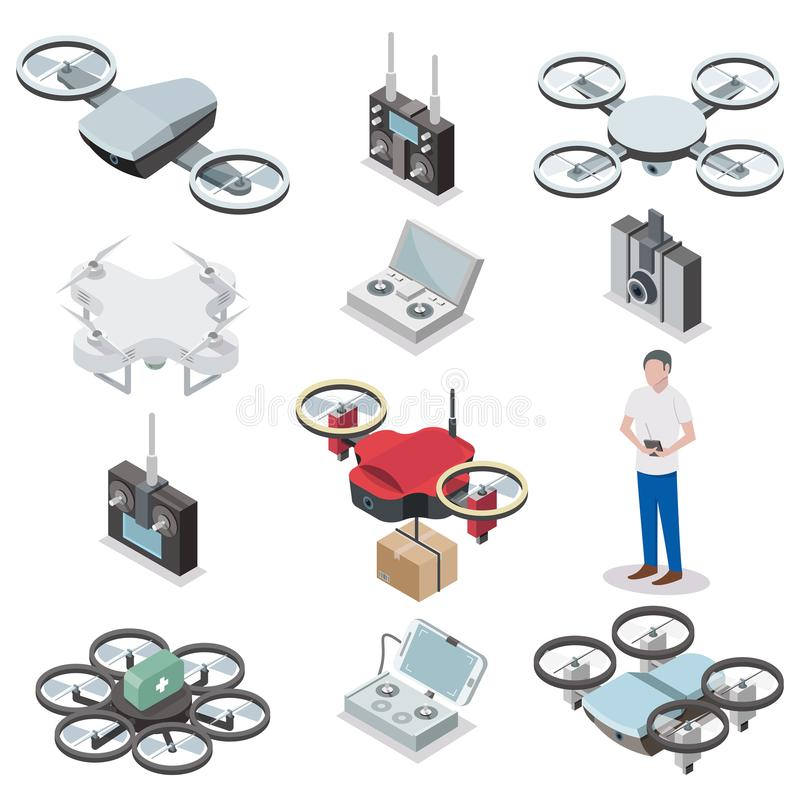 Drone quadcopter vector isometric icon set royalty free illustration