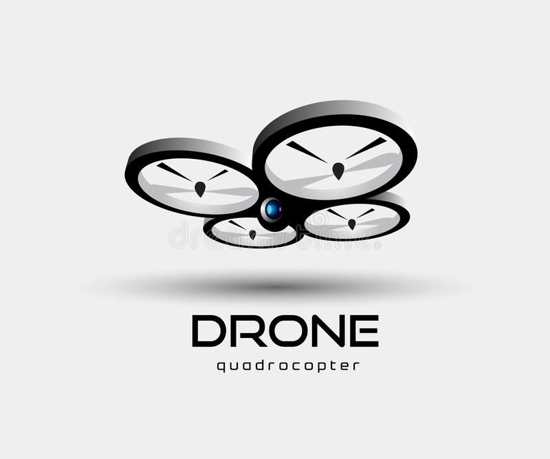 Drone quadrocopter abstract vector illustration. Drone Quadcopter on grey background