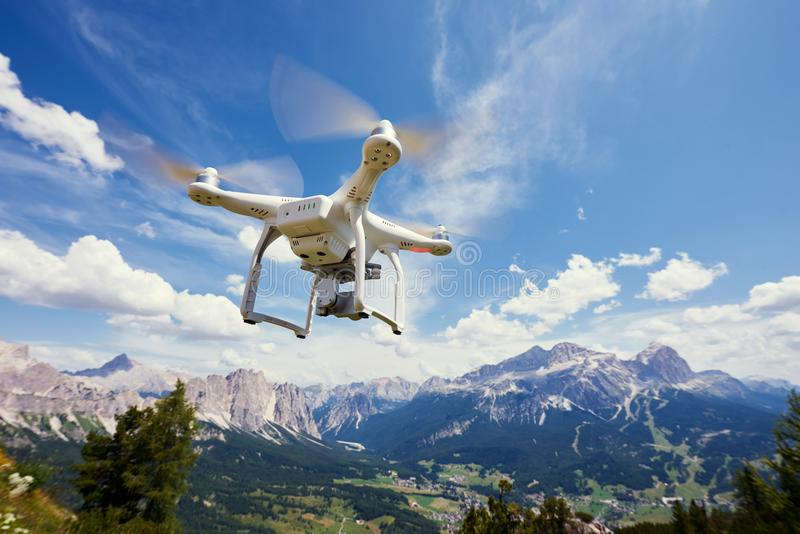 Drone quadrocopter with digital camera stock photography