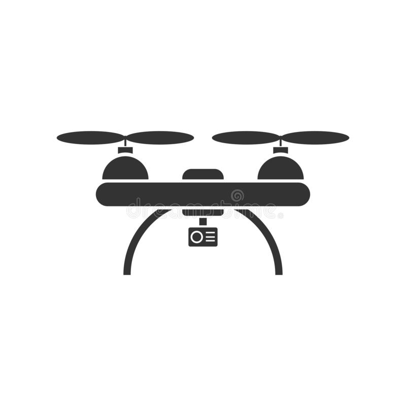 Drone quadrocopter icon flat. Drone quadrocopter. Black Icon Flat on white background royalty free illustration