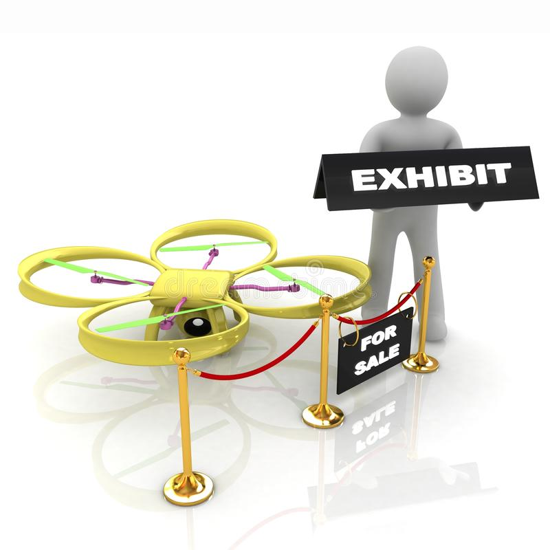 Drone, quadrocopter, with photo camera at the technical exhibition. 3d render royalty free illustration
