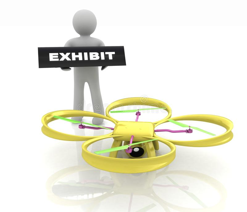 Drone, quadrocopter, with photo camera at the technical exhibition. 3d render vector illustration