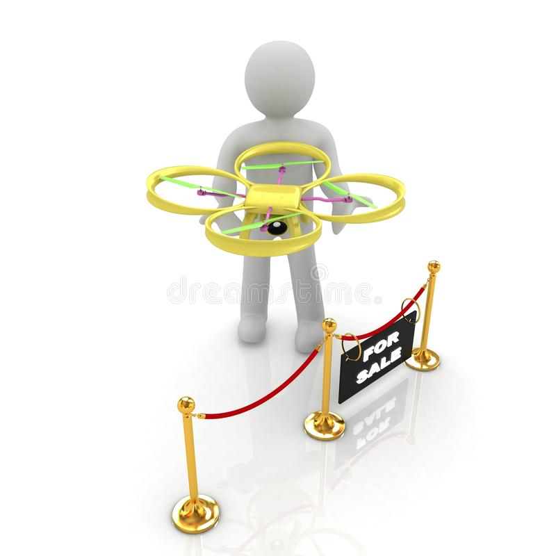 Drone, quadrocopter, with photo camera at the technical exhibition. 3d render stock illustration
