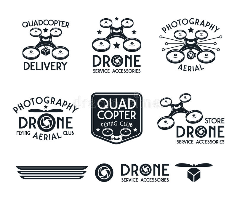 Drone or quadrocopter set of vector badges. Drone or quadrocopter set of vector logo, badges, emblems. Drone delivery, drone store, drone flying club. print on