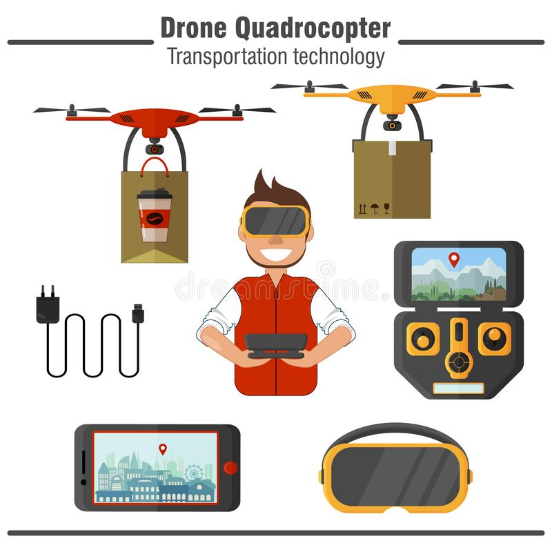Drone Quadrocopter transportation technology. Set of simple flat icons stock illustration