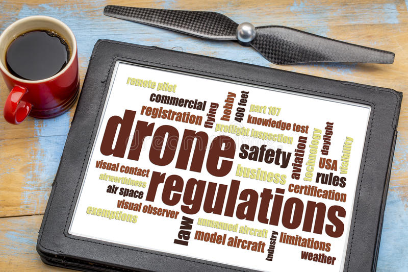 Drone regulations word cloud on tablet stock photography