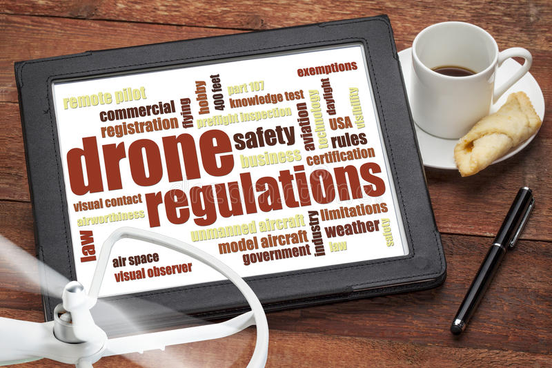 Drone regulations word cloud stock image