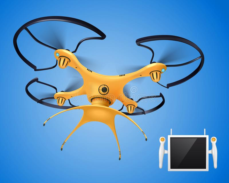 Drone With Remote Control Realistic Composition vector illustration