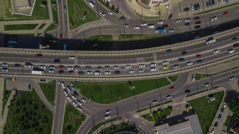 Drone\'s Eye View - Aerial top down view of urban traffic jam on bridge stock images