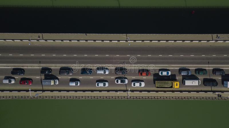 Drone\'s Eye View - Aerial top down view of urban traffic jam on bridge stock photography