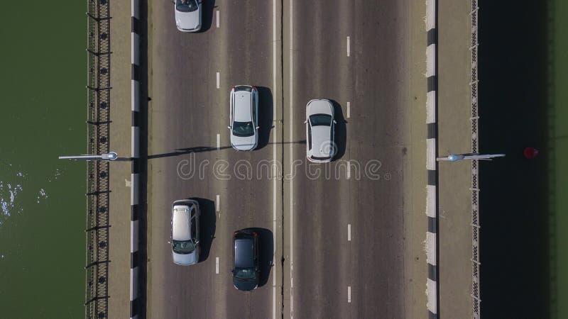 Drone\'s Eye View - Aerial top down view of urban traffic jam on bridge royalty free stock photos