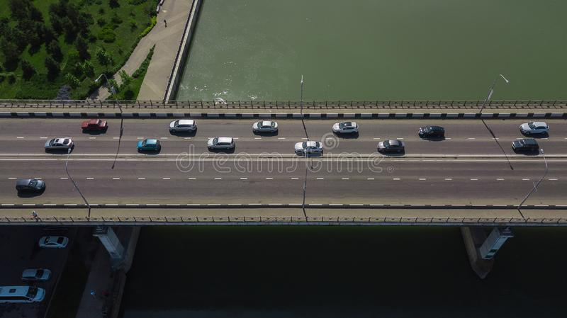 Drone\'s Eye View - Aerial top down view of urban traffic jam royalty free stock photo