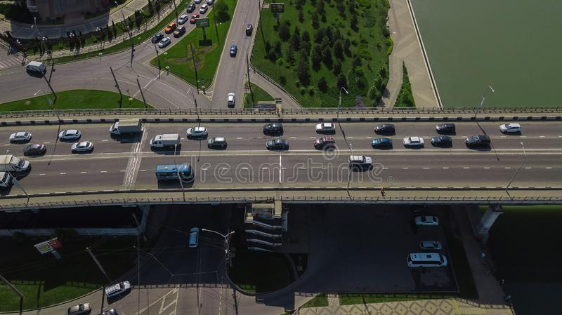 Drone\'s Eye View - Aerial top down view of urban traffic jam stock images