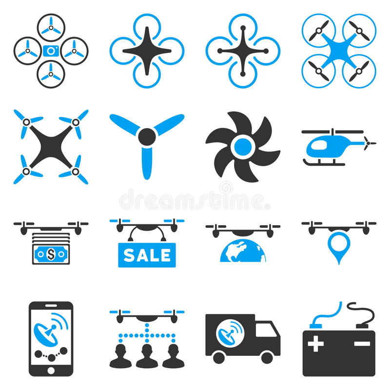 Drone service icon set. Designed with blue and gray colors. These flat bicolor pictograms are isolated on a white background