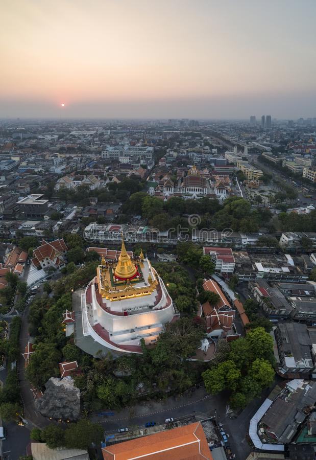 Drone shot of Golden Mount at Bangkok Thailand stock images