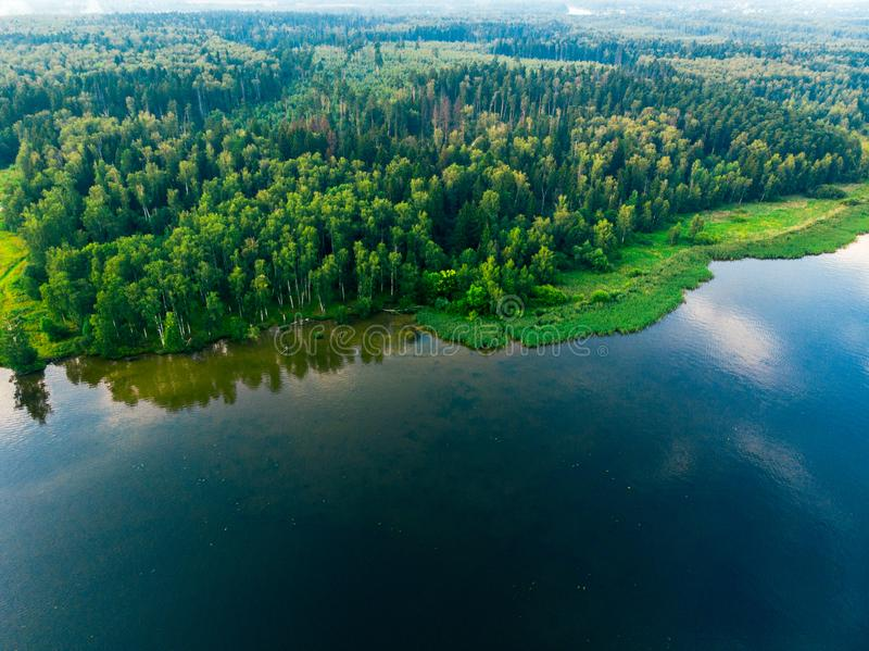 Drone shot of a lake and forest shore stock photos