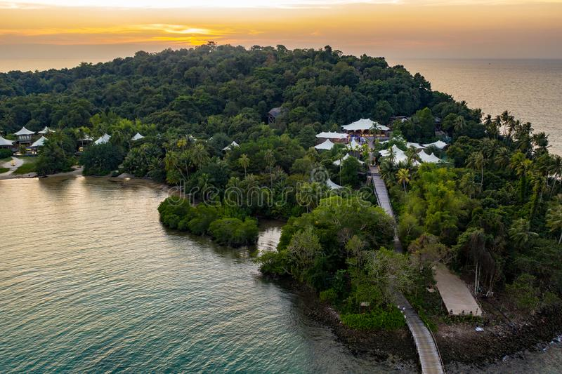 Drone shot the Luxury but Eco Community resort and hotel on the mountain in KohKood Island at the East of Thailand royalty free stock images