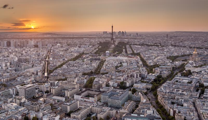 Drone shot of Paris at golden sunset royalty free stock photo